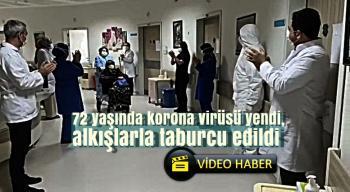 sağlık çalışanlarının alkışları ile hastaneden uğurlandı.