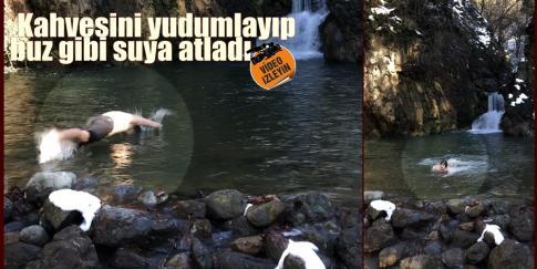 Yenice'nin Reklamını Buz Gibi Suya Atlayarak Yaptı