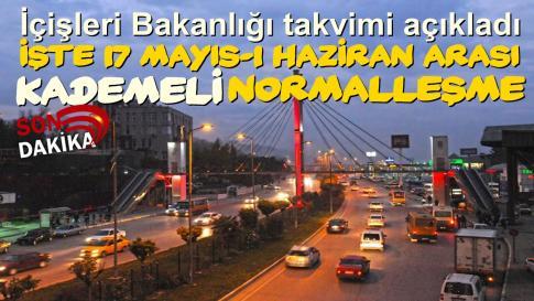 İçişleri Bakanlığı 17 Mayıs – 1 Haziran arası normalleşme takvimini açıkladı